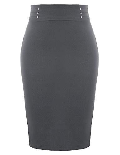 Womens Office Work Skirts Knee Length MIdi Pencil Skirt Grey XL
