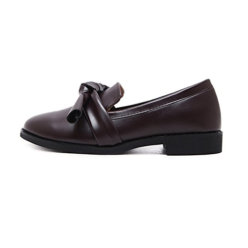 On Dress Brown Womens GIY Casual Bow Classic Penny Comfort Dark Loafers Retro Toe Oxford Round Shoes Slip fqUw7qXa