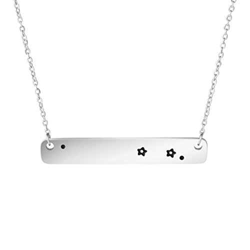 (Awegift Aries Constellation Necklace Zodiac Sign Stainless Steel Engraved Bar Jewelry Gifts for Women)