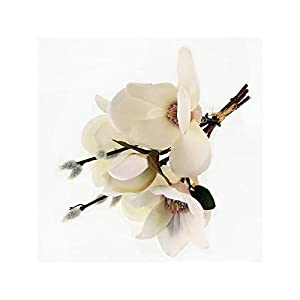 Floristrywarehouse Pussy Willow Posy of 1 x Artificial Stem with 3 x Magnolia Flower Stems 12 Inches 43