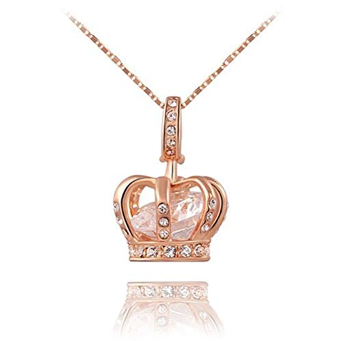 TIDOO Jewelry Womens Queen Crown Pendant Necklace 18.5+2.16inch Chain- 3 Lays Rose Gold/Platinum Plated with Austrain Crystals