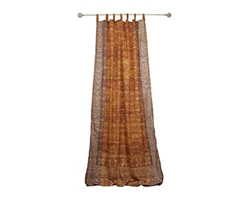 (GOLD YELLOW CURTAIN Window Treatment Draperies Boho Curtains over 20 colors Sari panel 108 inch for bedroom living room dining room kids yoga studio canopy boho tent Honey Amber Earthtones W GIFT bag)