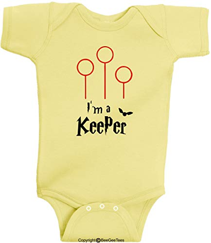I'm A Keeper Funny Wizard Baby Romper Wizard One Piece by BeeGeeTees (6 Months, Banana Yellow)