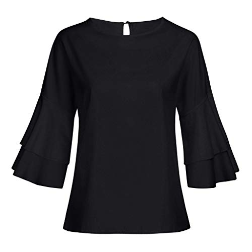 iPOGP Women Casual Solid Round Neckline Loose Shirts Ruffle Flare Sleeve Ruffle Daily Blouse Tops Fashion 2019(Black,X-Large) ()