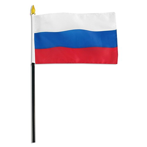 Russia 4 x 6 inch World Stick Flag made in USA by - In Stores Usa The Online