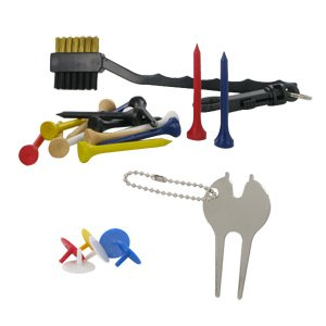 Golf Accessory Pack (Spike Wrench, Divot Tool, Tees, Cleaning Brush & Ball Marks)