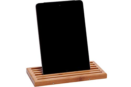 2ARTEAM B2-02L Tablet Stand for Ipad, Android or Large Cell Phone Without Case - Class A Premium Bamboo Holder with Unique Flat, Magnetic Interlocking Design (For Tablet Without Case)