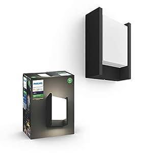 Philips Hue White LED Fuzo Wall Lantern Black, Compatible with Alexa