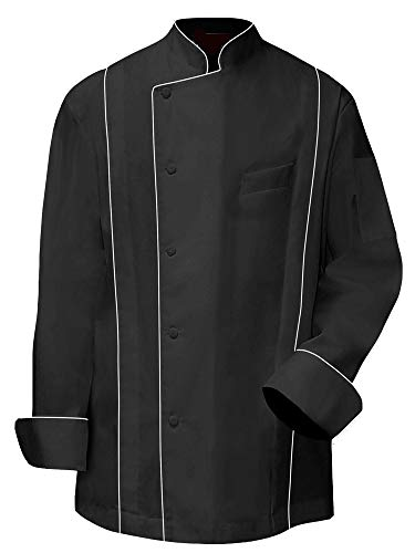 Black Chef Coat Full Sleeve White Piping Size-4XL