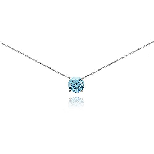 (Sterling Silver Light Blue Solitaire Choker Necklace Made with Swarovski Crystal)