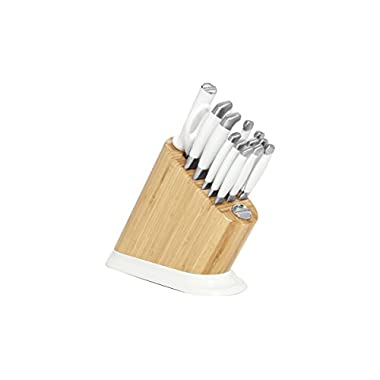 KitchenAid 14-Piece Iconic Stainless Steel Knife Block Set, Frosted Pearl