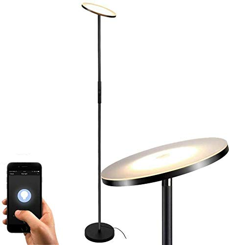 Shalomlite Sky LED Torchiere Floor Lamp, WiFi Smart Remote Control Tall Standing Modern Pole Light for Living Rooms, Bedroom&Offices, Dimmable Uplight Compatible with Amazon Alexa&Google Assistant