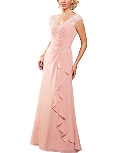 H.S.D Lace V-Neck Cap Sleeves Chiffon Mother Of The Bride Dresses Prom Gowns