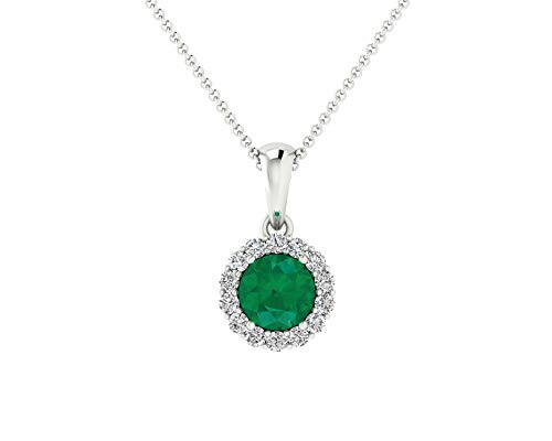 Euforia Jewels IGI Certified 14K Fine Gold Natural Emerald 4MM Round Cut and 0.09 Cts Natural Diamond I1-I2/G-H Round Cut Pendant With Free 925 Sterling Silver - Wg Diamond Emerald Cut 14k