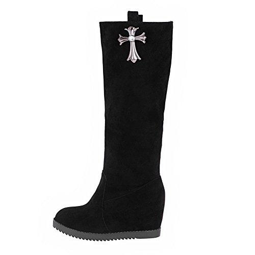AllhqFashion Mujeres Plataforma Sólido Puntera Redonda Sin cordones Botas con Pieza de Metal Negro