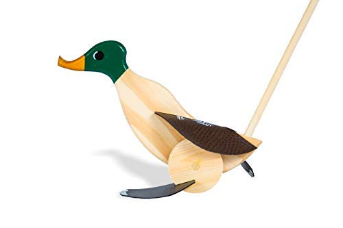 Wooden Push Pull Activity Walking Toy Duck (Dark Green) - Toddlers 18 Months to 6 Year Old Kids