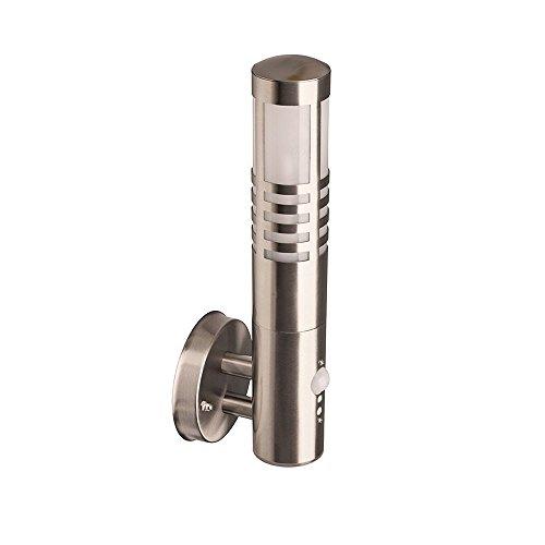 Brilliant Gerna roestvrij stalen buitenwandlamp met bewegingsmelder, beschermingsklasse IP44 – spatwaterdicht, H: 38 cm…