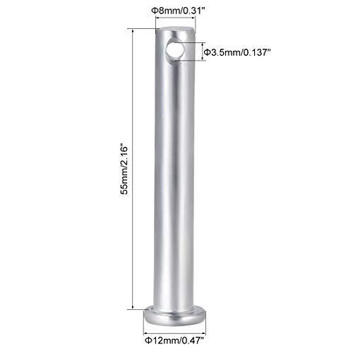 10 Pieces 8 mm x 55 mm Galvanized Steel Flat Head Single Hole Fork pins