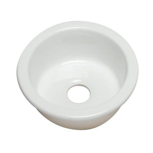 ALFI brand AB1818R Round Fireclay Undermount or Drop in Prep/Bar Sink (Undermount Fireclay Prep Sink)