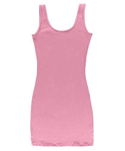 Le Top Pink Dress (BLBD Women's Basic Extra Long Fitted Tunic Tank Top Light Pink Medium)