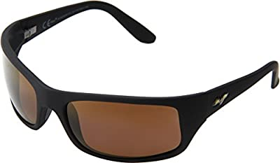 Maui Jim Peahi Polarized Matte Black Wrap Frame Sunglasses