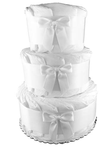 Plain Do it Yourself 3-Tier Diaper Cake - 50 Size 1 Diapers - Baby Shower Centerpiece - White ()