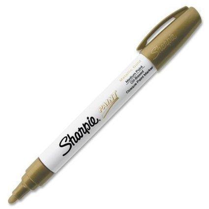Sharpie Oil Base Medium Paint Marker - Medium Marker Point Type - Gold Ink - 1 Each