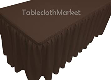 d89674627 Amazon.com: 8' Ft. Fitted Tablecloth Double Pleated Polyester Table ...