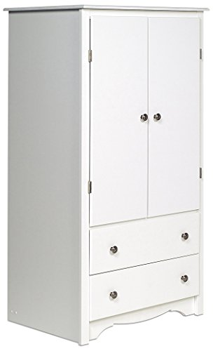 Prepac White Monterey 2 Door Armoire (Wardrobe White Armoire)