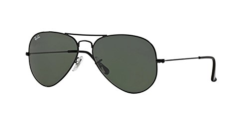 Ray-Ban RB 3025 Aviator Black w/ Grey Green (G15) Lens - Black Ban 3025 Ray