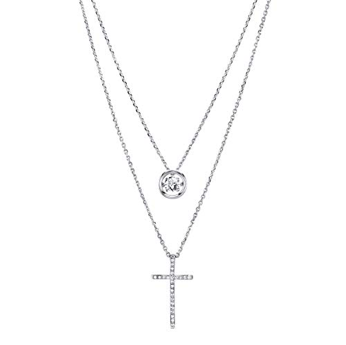 - SERAFINA Women's Cross Pendant Necklace with Beautiful Dancing White Sapphire | Cross Encrusted White Sapphires | 18