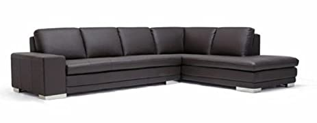 Baxton Studio Callidora Brown Leather Sectional Sofa with Right Facing Chaise  sc 1 st  Amazon.com : brown leather sectional sofa with chaise - Sectionals, Sofas & Couches