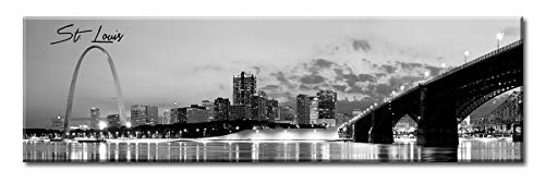 (DJSYLIFE- Panoramic St. Louis Skyline Wall Art Cityscape Picture Wall Decor Stretched Canvas Art Prints for Bedroom or Office, Framed and Ready to Hang, 13.8