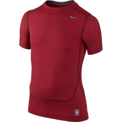 NIKE Pro Core Compression Boy's Short Sleeve Top, Red, Age 12-13/L