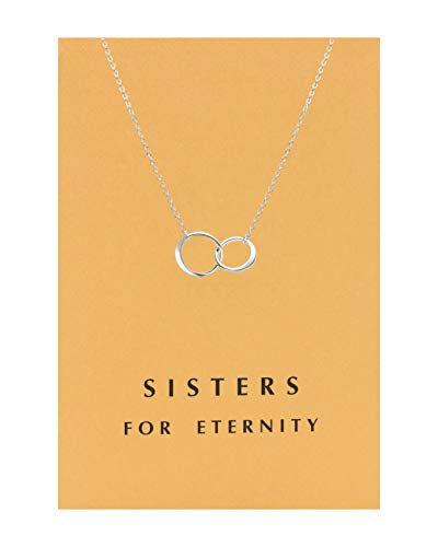 Zealmer Double Link Necklace Friendship Pendent Rings Chain with Message Card as Gift