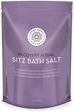 Sitz Bath Salt – Postpartum Care and Hemorrhoid Treatment – Natural Sitz Bath Soak with Epsom Salt, Dead Sea Salt, and Essential Oil for Self Care and Hemmoroid Treatment, 10 oz by Pure Body Naturals