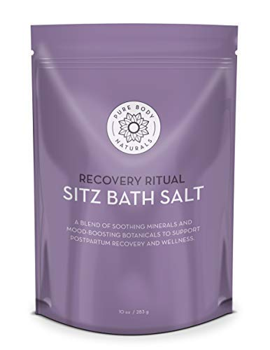 - Sitz Bath Salt - Postpartum Care and Hemorrhoid Treatment - Natural Sitz Bath Soak with Epsom Salt, Dead Sea Salt, Essential Oil for Self Care and Hemmoroid Treatment, 10 ounces by Pure Body Naturals