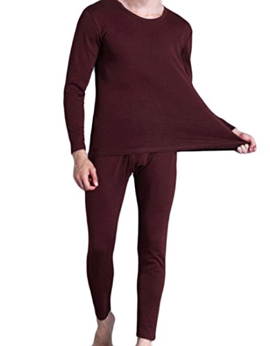 - Tootless Men's Soft Wool Cotton Crew-Neck Solid-Colored Thermal Underwear Set Wine Red L