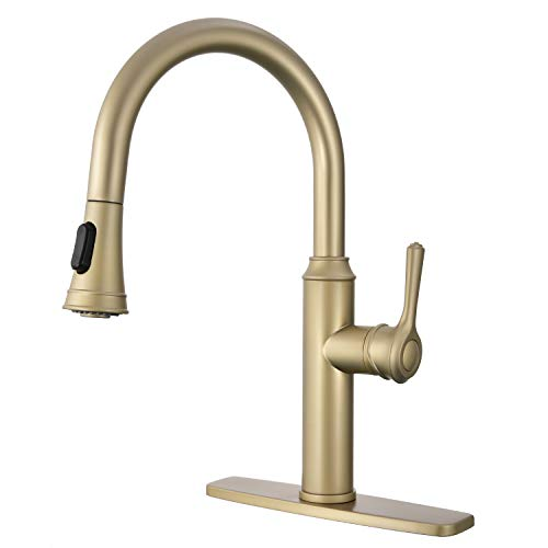 (Peppermint Kitchen Sink Faucet Champagne Bronze Single Handle with Pull Down Sprayer Gold)