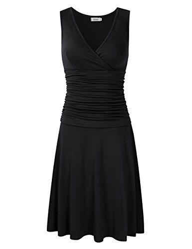 Ruched Little Black Dress (MISSKY Women V Neck Sleeveless Crossover Wrap Ruched Waist Slimming Swing Cocktail Dress (L, Black-Sleeveless))