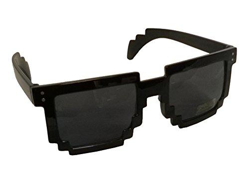 Black 80's 8-Bit Pixelated Videogame Pixels Sunglasses Costume - Bit 8 Costume
