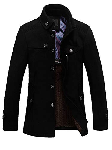 SEFON Men's Winter Wool Blend Classic Pea Coat Single Breasted Thicken Slim Fit (Style Slim Fit Wool)