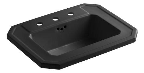 "KOHLER K-2325-8-7 Kathryn Self-Rimming Bathroom Sink with 8"" Centers, Black Black"