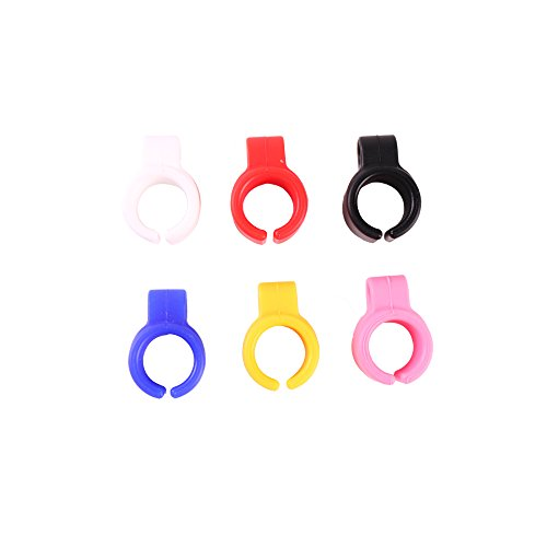 Cigarette Holder Rings Silicone Hands Free Cigarette Finger Ring Holders for Men and Women Smoking Ring Holder for Gamers, Musicians, Drivers and etc (Blue+White+Red+Pink+Black+Yellow-6pcs) ()