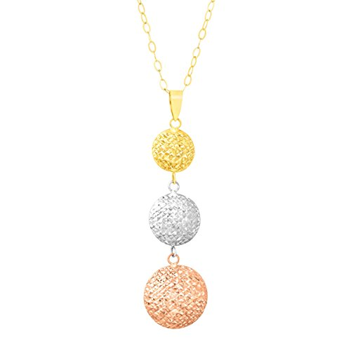 Just Gold Domed Circle Drop Pendant in 10K Three-Tone Gold, 18