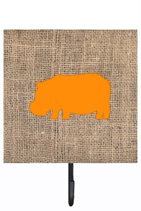 UPC 705332237215, Caroline's Treasures BB1130-BL-OR-SH4 Hippopotamus Burlap and Orange Leash or Key Holder Bb1130, Small, Multicolor