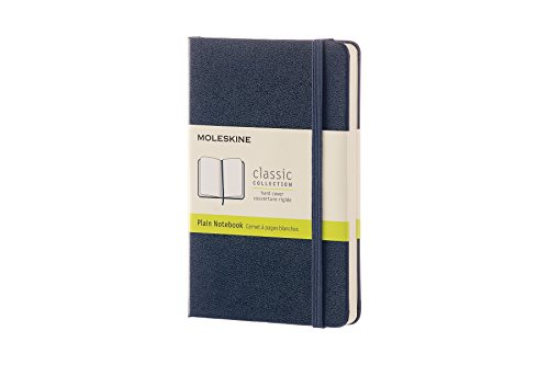Moleskine Classic Hard Cover Notebook, Plain, Pocket Size (3.5 x 5.5) Sapphire Blue - Hard Cover Notebook for Writing, Sketching, Journals