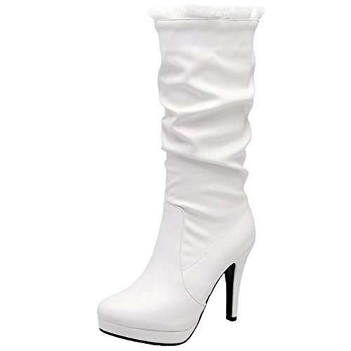 COOLCEPT Women Slouch Boots Pull On White wH4i8