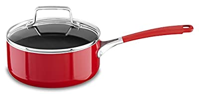 KitchenAid KC2A20PLER Aluminum Nonstick 2.0 quart Saucepan with Lid - Empire Red, Medium