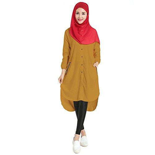 Chemise Hougood Blouse Robe Chemise Abaya Dubai Femme Musulmans Islamique Jaune Casual Blouse Tunique Longues FZ8wxgqrF
